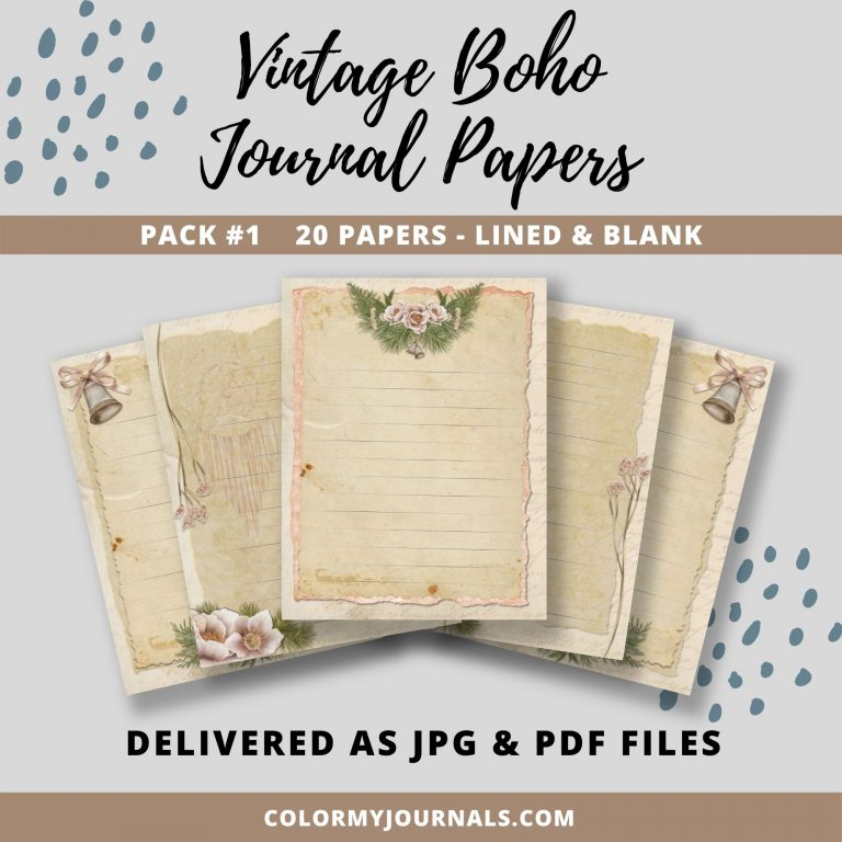 Vintage Boho Journal Papers Pack 1