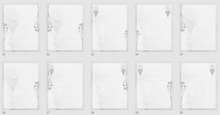 Vintage Boho Journal Papers Pack 2 grayscale