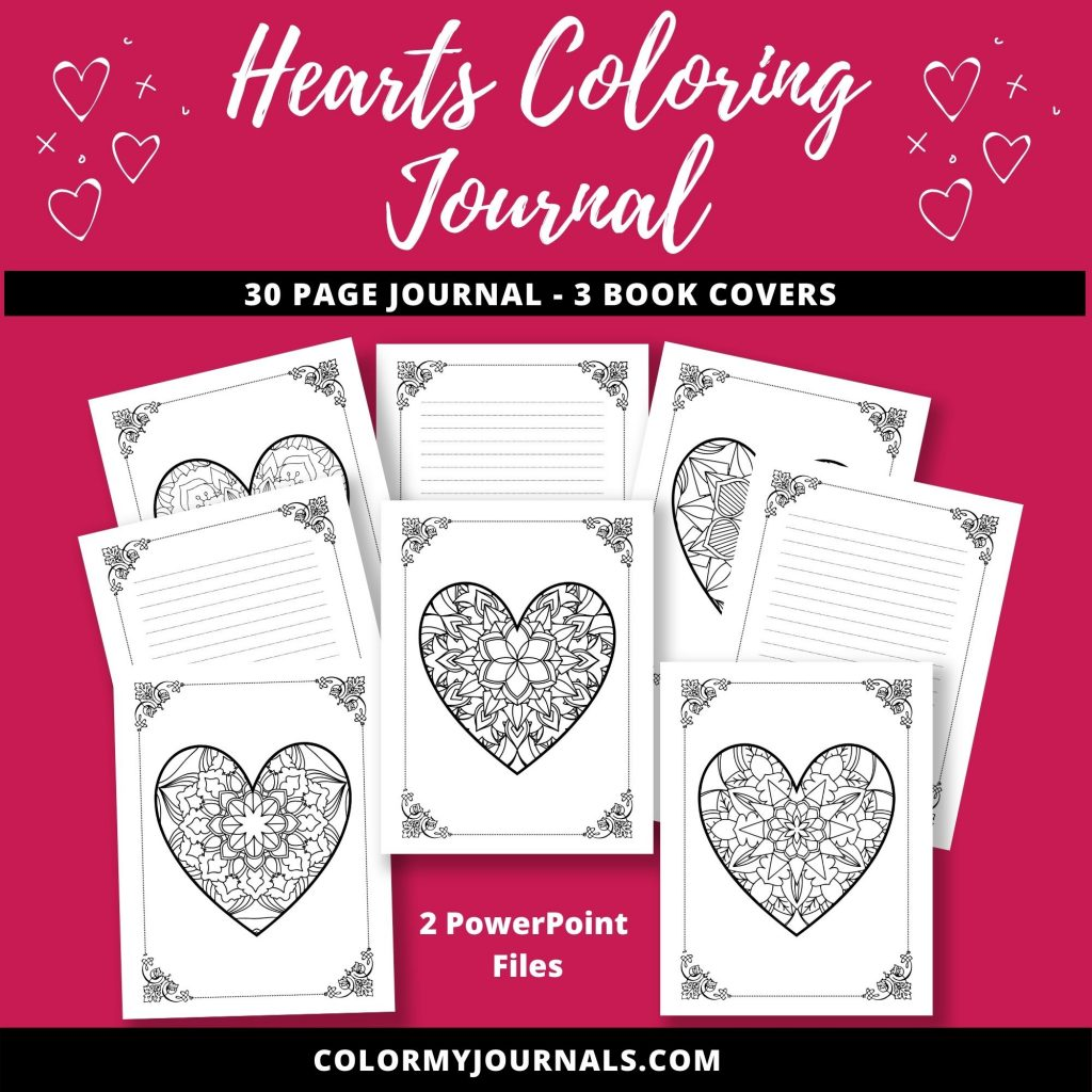 hearts coloring journal
