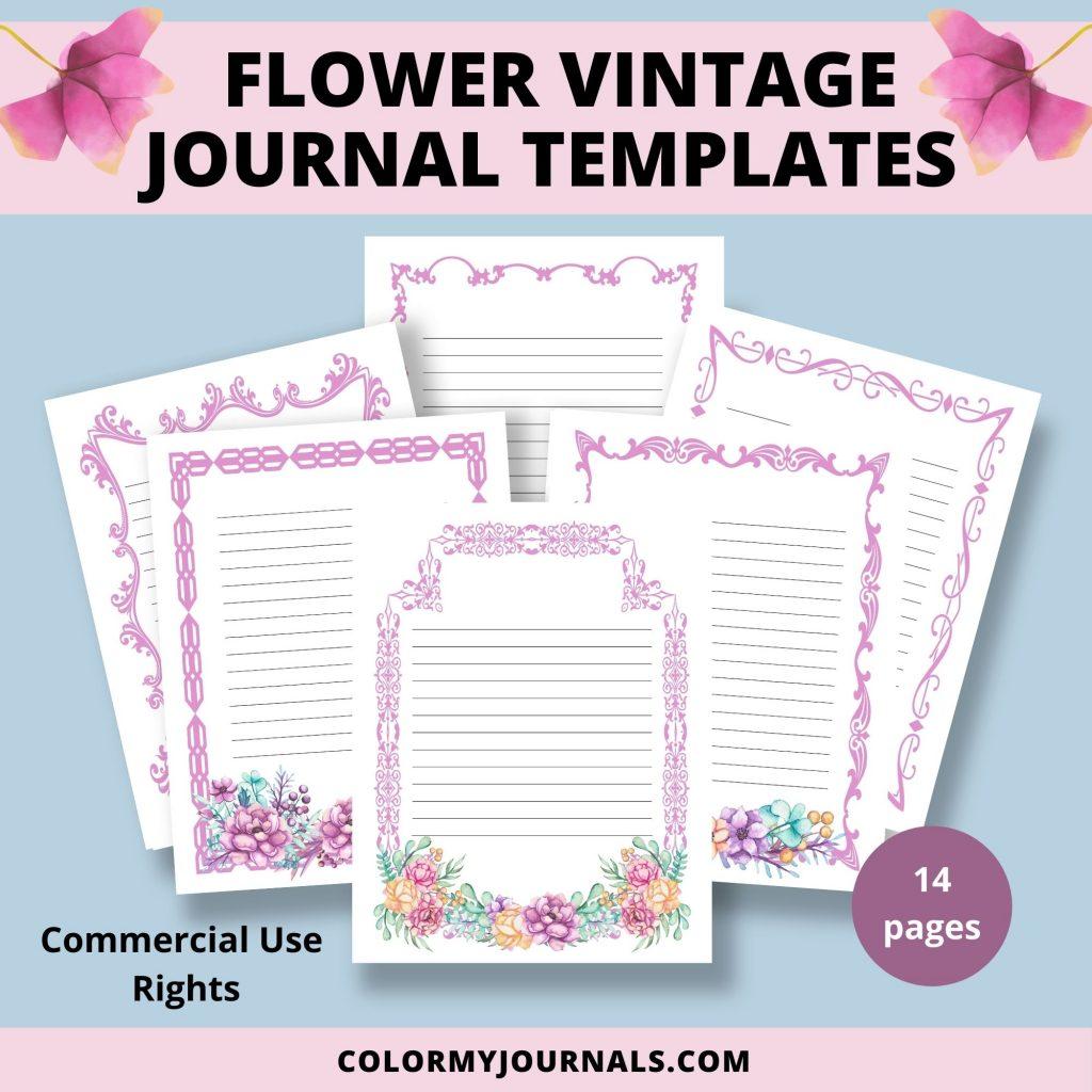 flower vintage journal templates