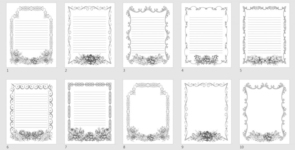 flower vintage journal templates grayscale