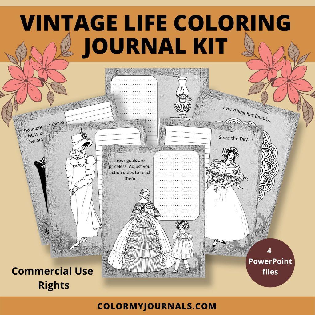 Vintage Life Coloring Journal Kit