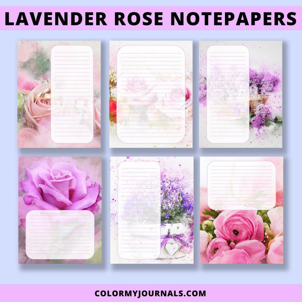lavender rose notepapers