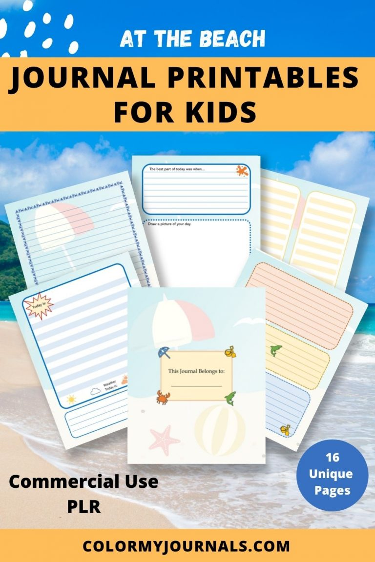 at the beach journal printables for kids