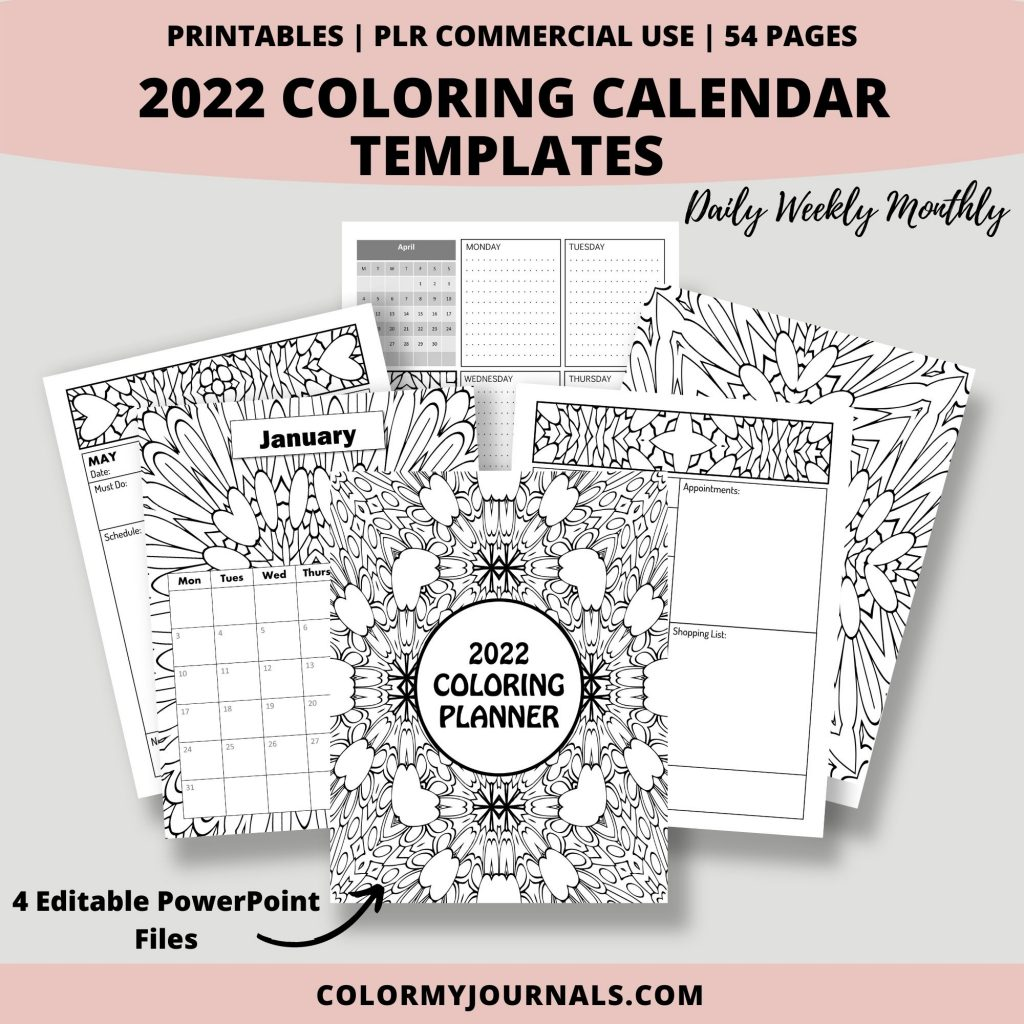 2022 Coloring Calendar Templates Mockup