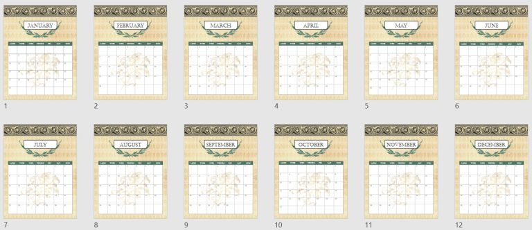 2022 Grecian Gold Monthly Calendar Mockup