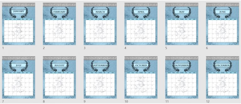 2022 Monthly Calendars Mockup
